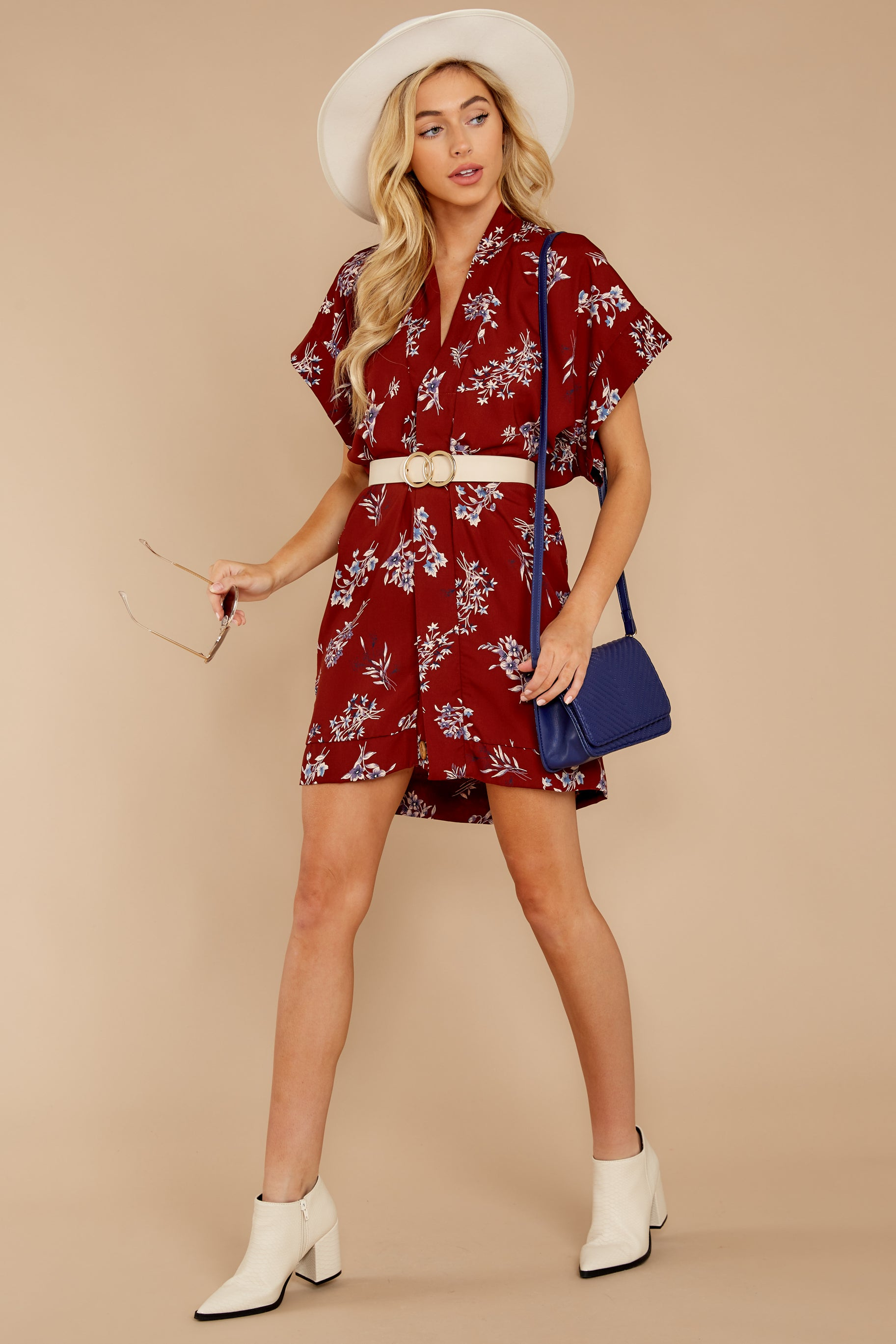 3 Carried Away Burgundy Floral Print Dress at reddressboutique.com