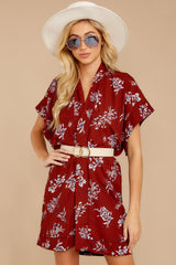 4 Carried Away Burgundy Floral Print Dress at reddressboutique.com