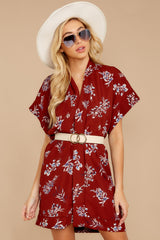 5 Carried Away Burgundy Floral Print Dress at reddressboutique.com