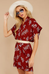 6 Carried Away Burgundy Floral Print Dress at reddressboutique.com