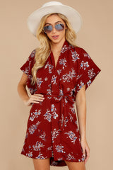 7 Carried Away Burgundy Floral Print Dress at reddressboutique.com
