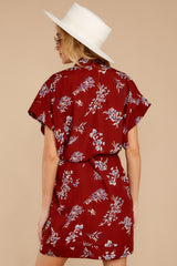 8 Carried Away Burgundy Floral Print Dress at reddressboutique.com