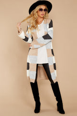 3 Live The Dream Grey Multi Cardigan at reddressboutique.com