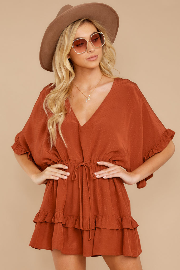 1 In Spades Spiced Orange Romper at reddressboutique.com