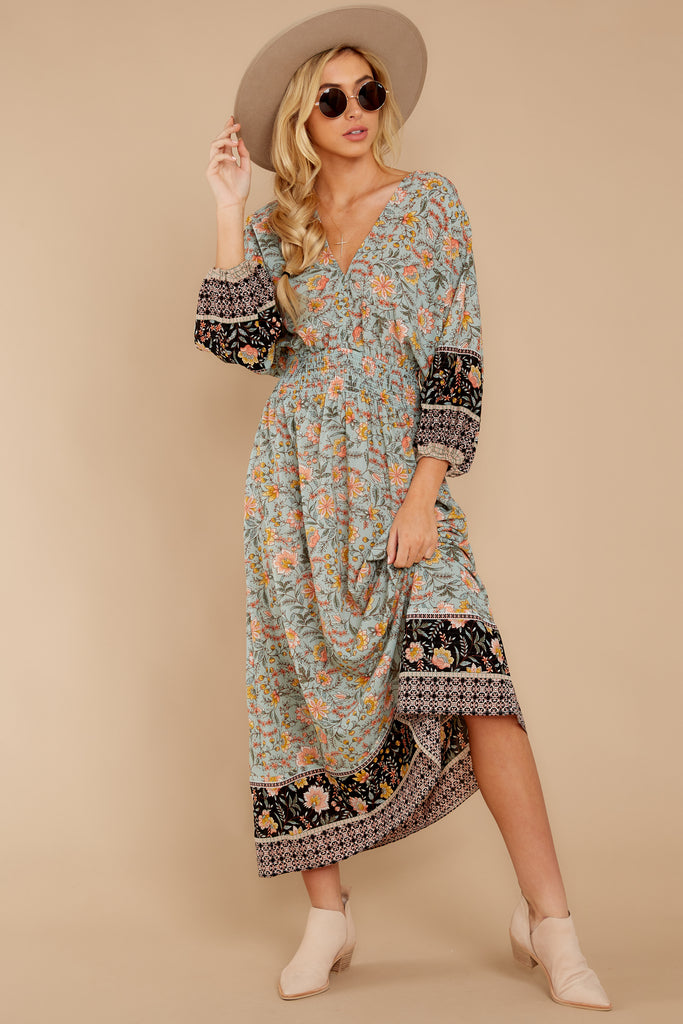 3 New Heights Teal Print Maxi Dress at reddressboutique.com