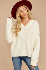 4 More Than Others Ivory Sweater at reddressboutique.com