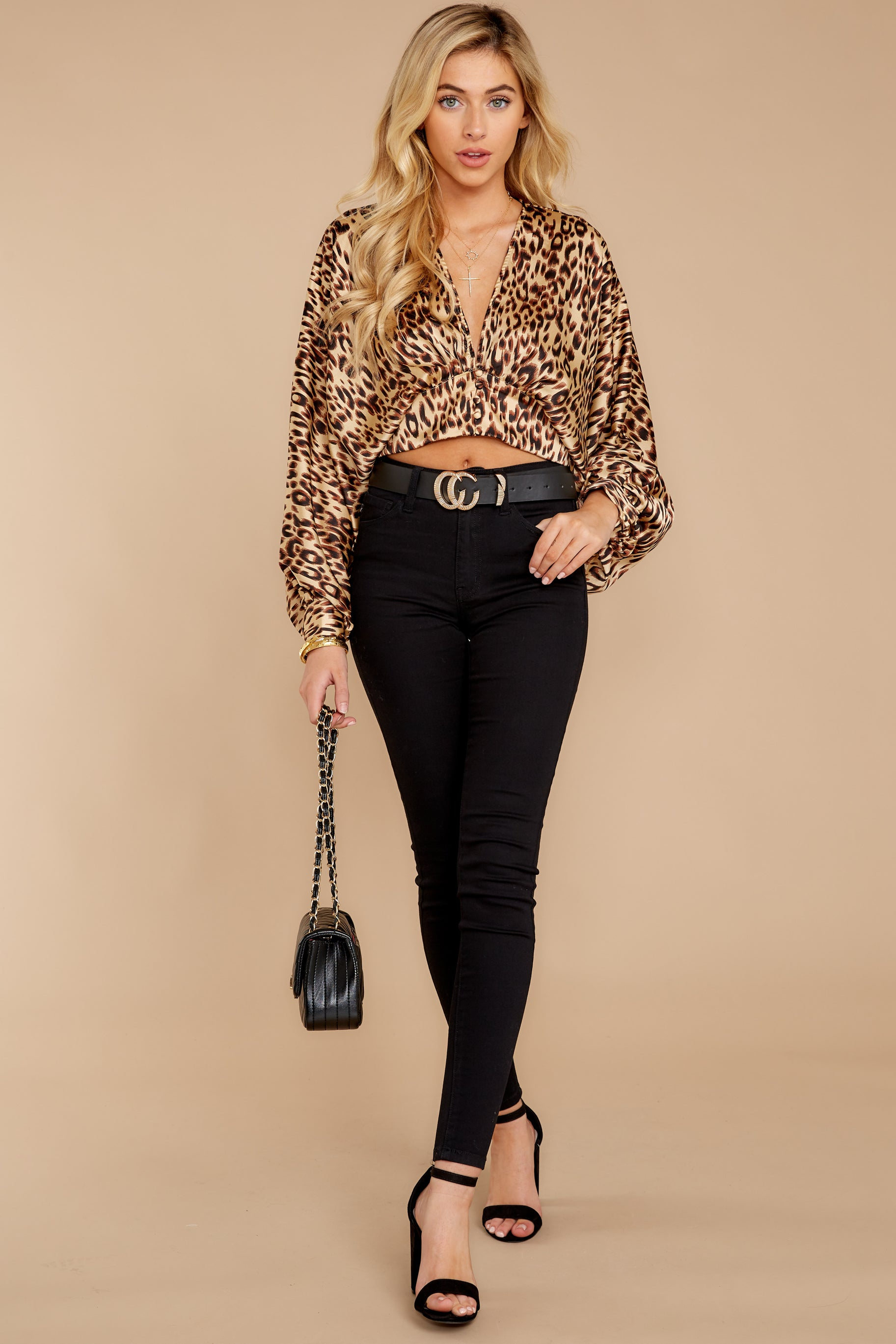 4 Wild Thing Gold Leopard Print Top at reddressboutique.com