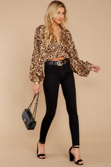 3 Wild Thing Gold Leopard Print Top at reddressboutique.com