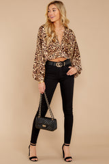 1  Wild Thing Gold Leopard Print Top at reddressboutique.com