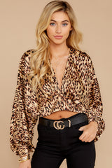 5 Wild Thing Gold Leopard Print Top at reddressboutique.com