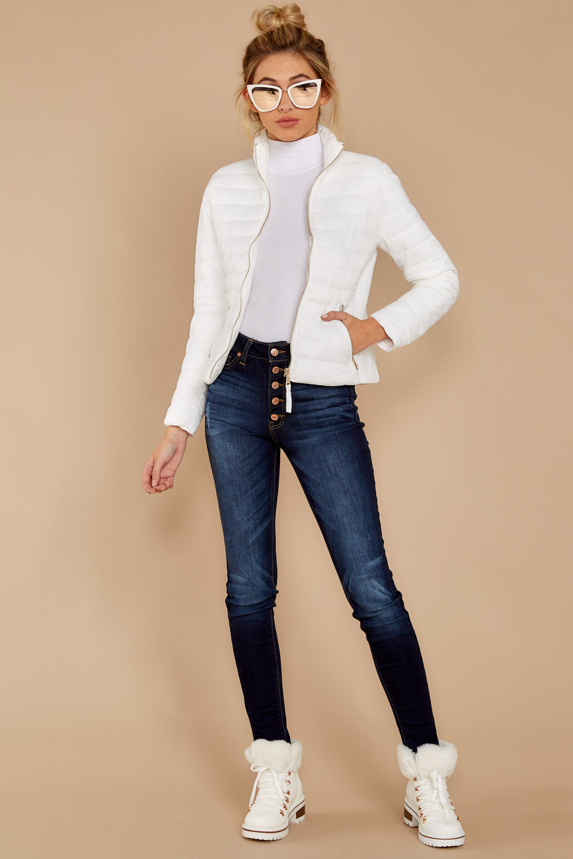 1 Cabin Cozy White Padded Jacket at reddressboutique.com