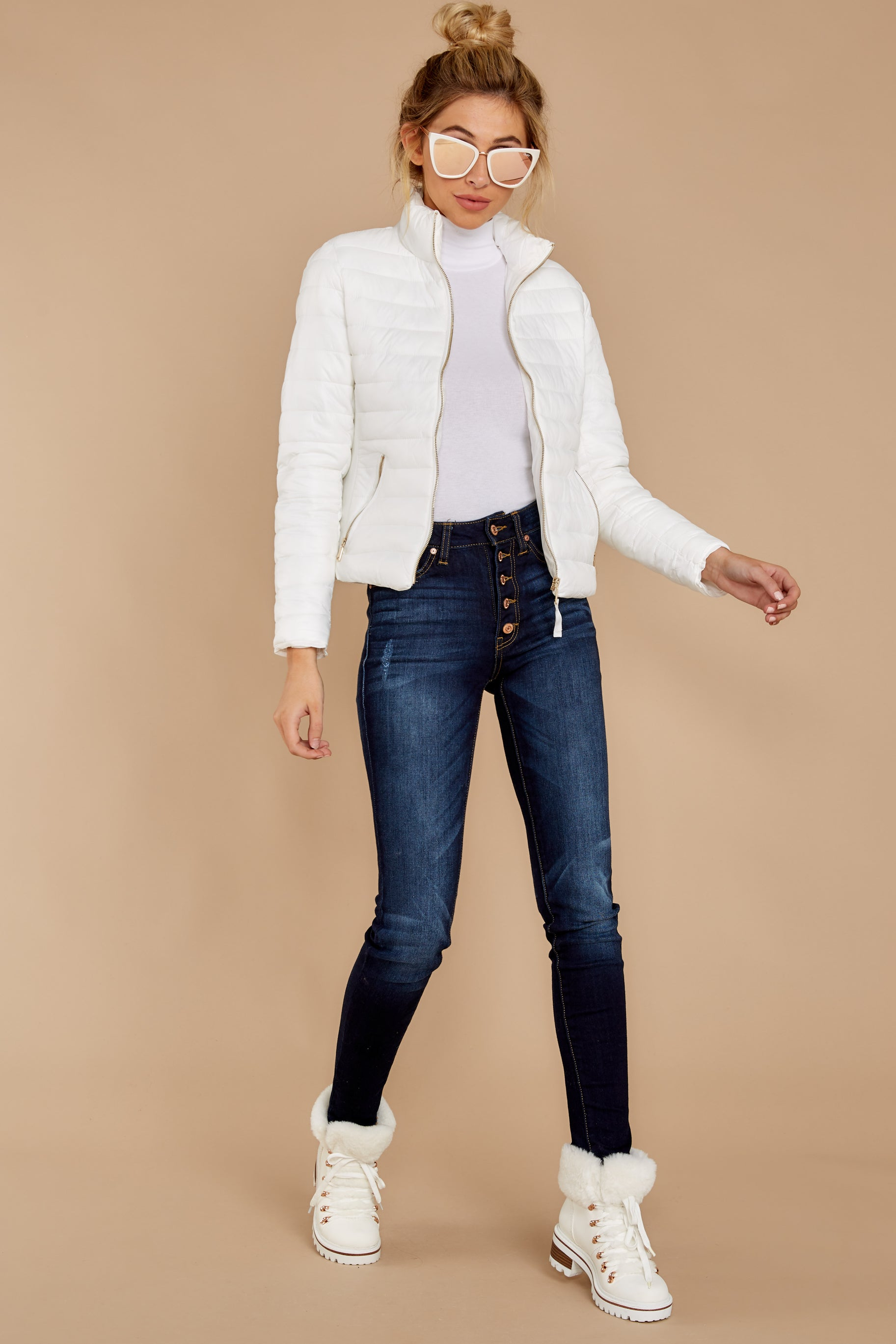 2 Cabin Cozy White Padded Jacket at reddressboutique.com