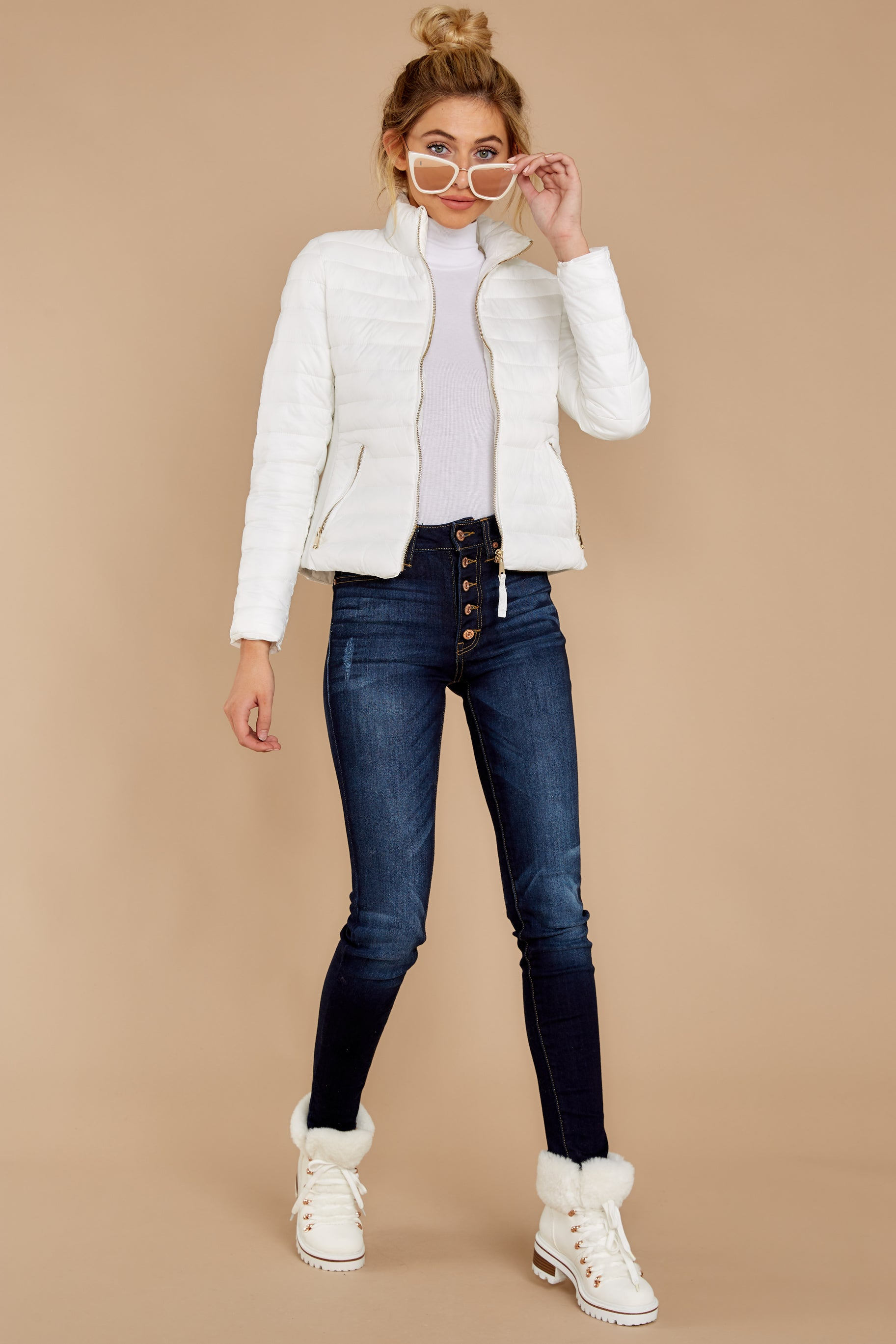 3 Cabin Cozy White Padded Jacket at reddressboutique.com