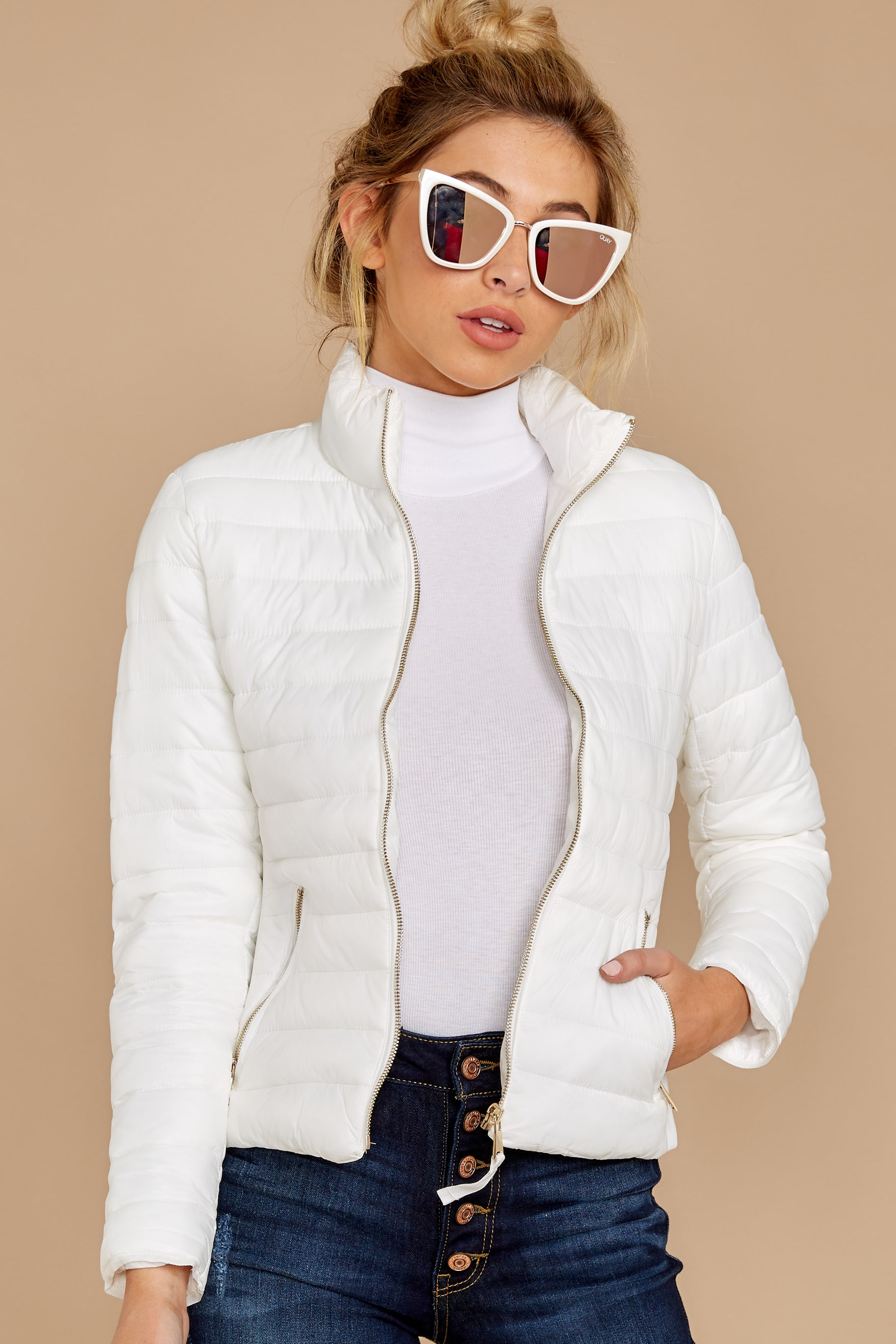 5 Cabin Cozy White Padded Jacket at reddressboutique.com
