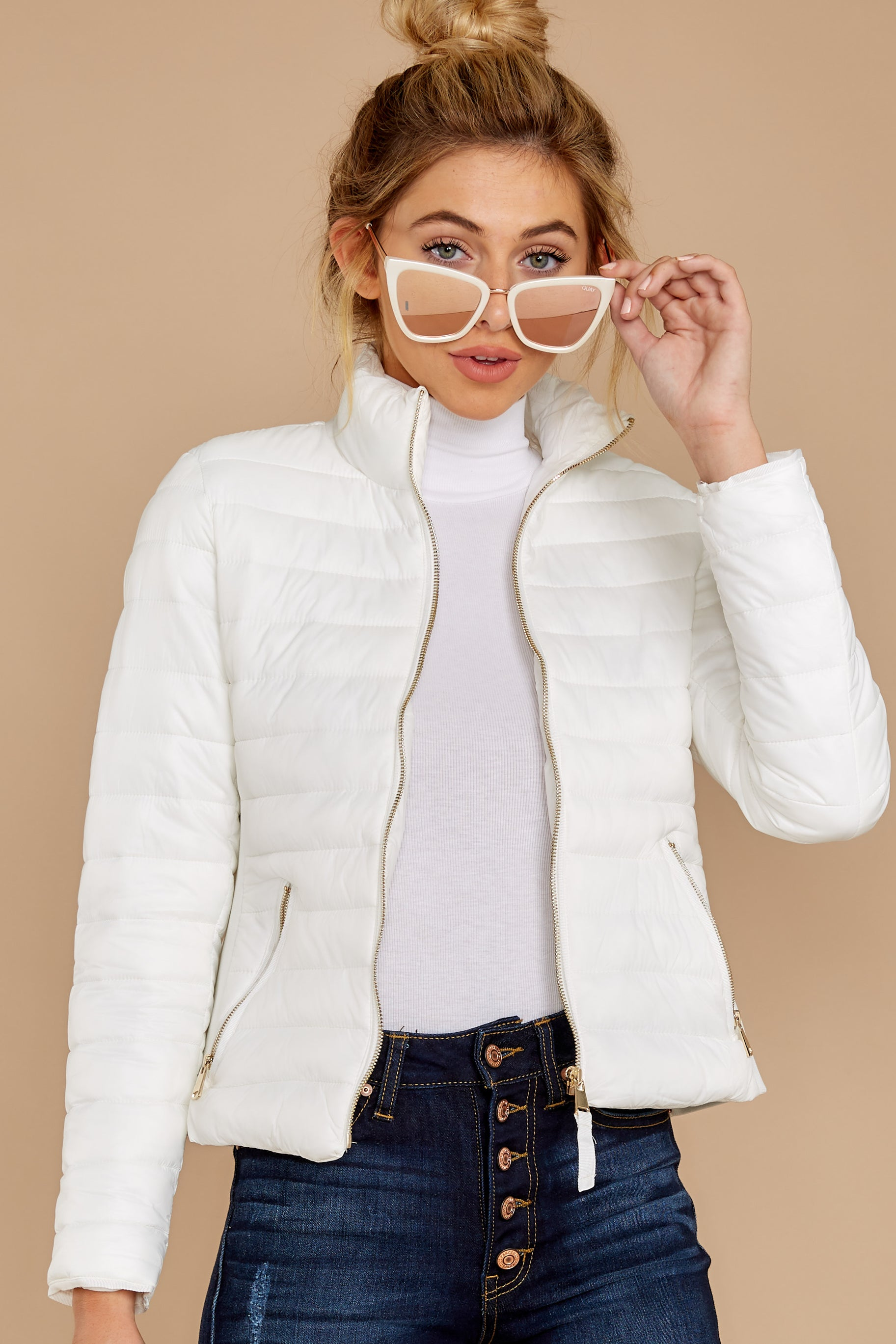 6 Cabin Cozy White Padded Jacket at reddressboutique.com