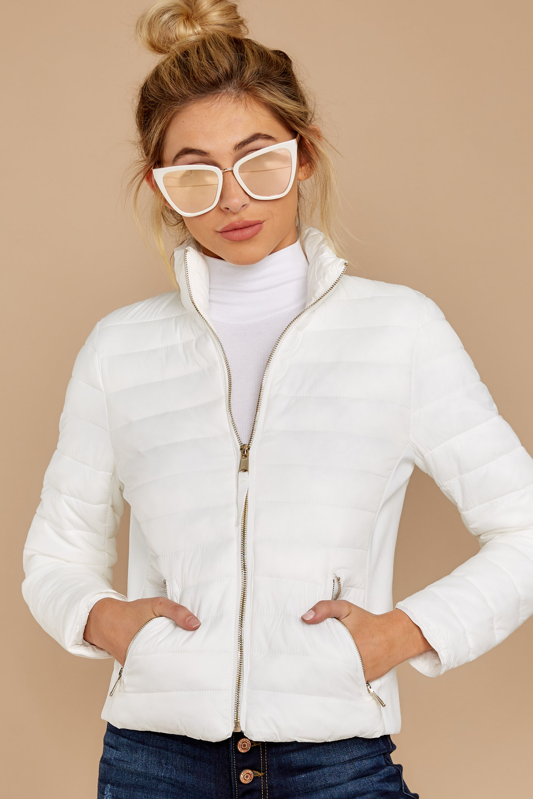7 Cabin Cozy White Padded Jacket at reddressboutique.com