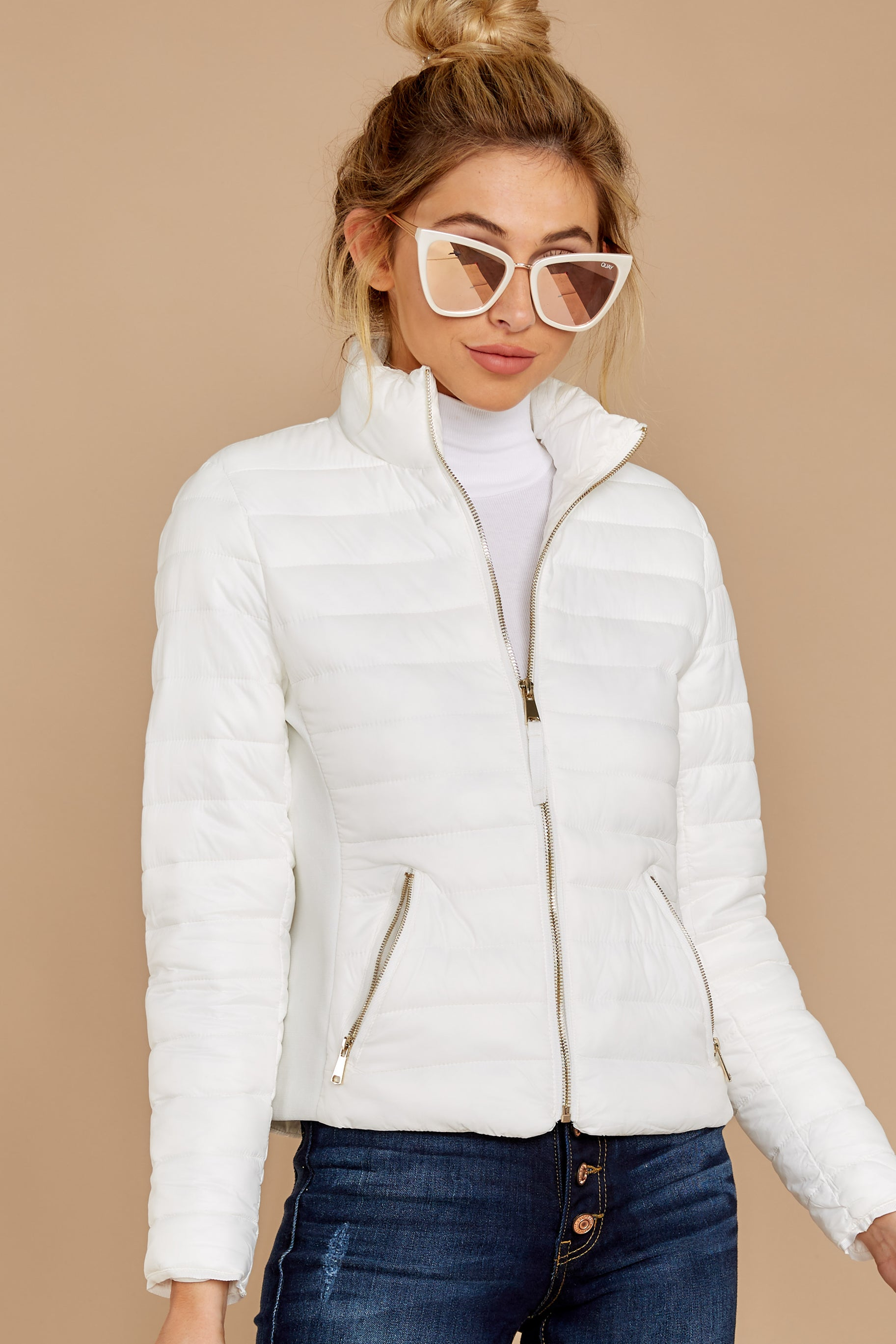 8 Cabin Cozy White Padded Jacket at reddressboutique.com