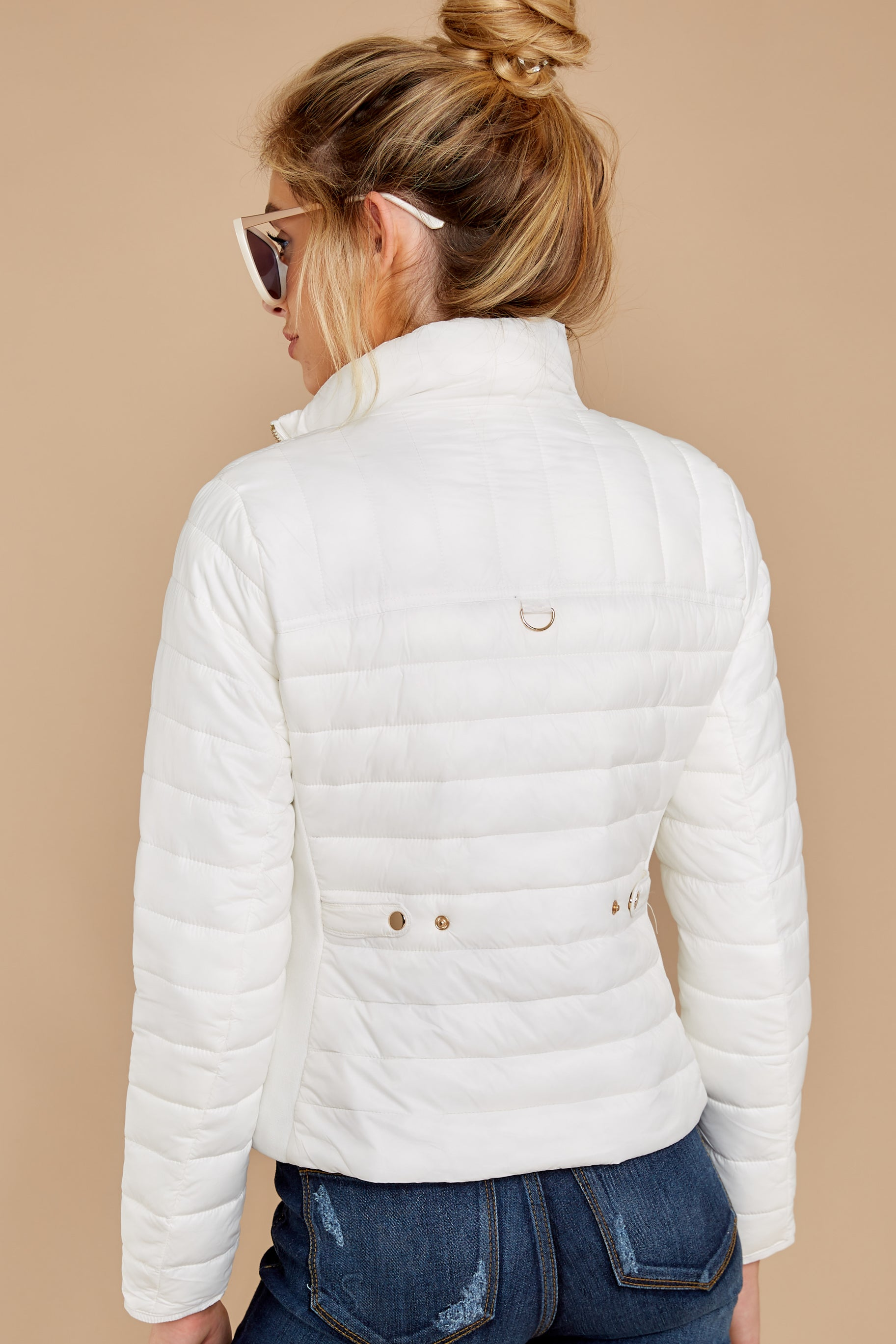 9 Cabin Cozy White Padded Jacket at reddressboutique.com
