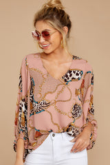 2 Worth My While Mauve Pink Print Top at reddressboutique.com