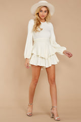 3 Right Impression White Sweater Romper at reddressboutique.com
