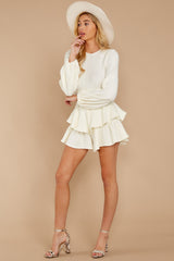 2 Right Impression White Sweater Romper at reddressboutique.com