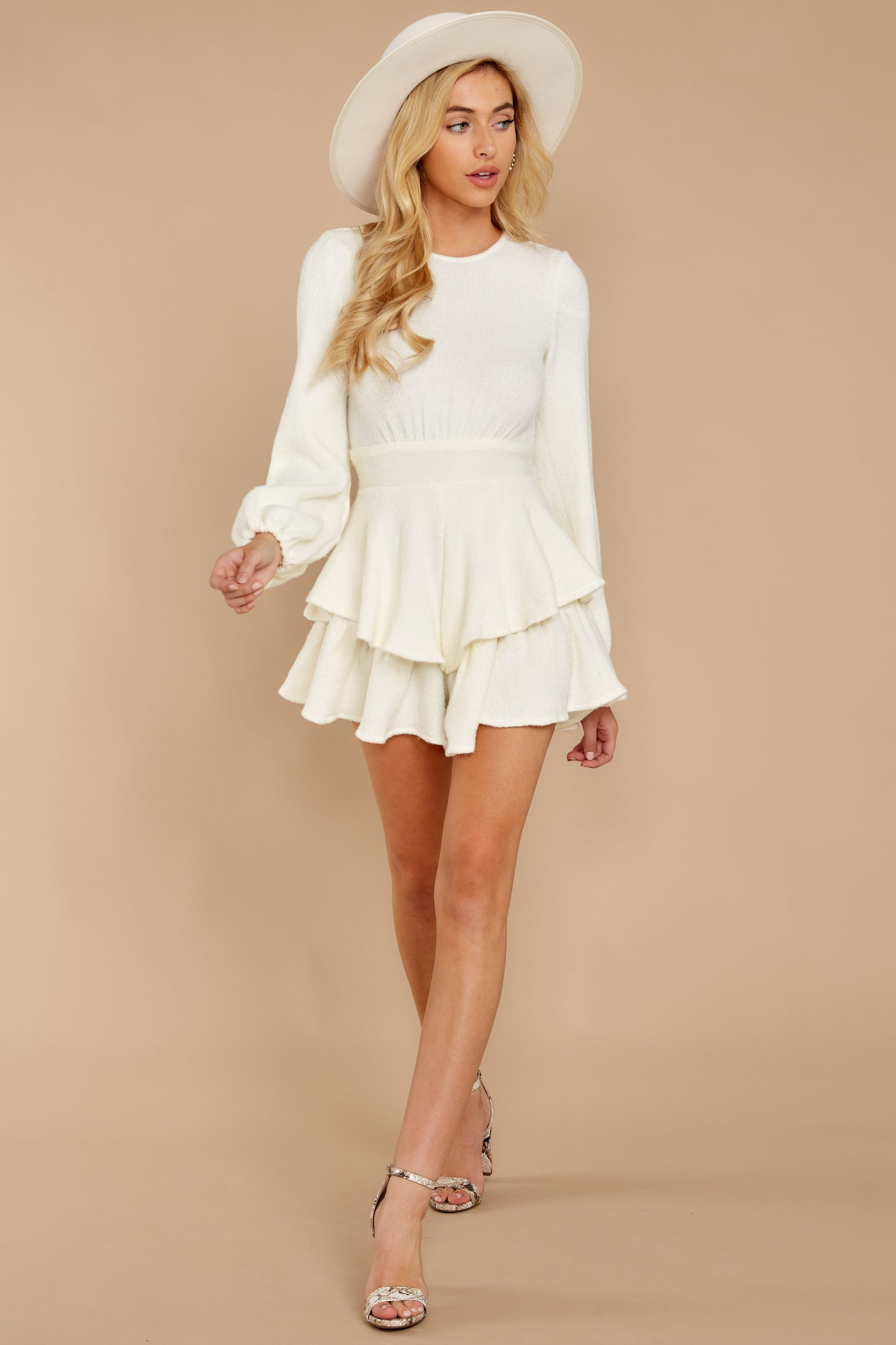 1 Right Impression White Sweater Romper at reddressboutique.com