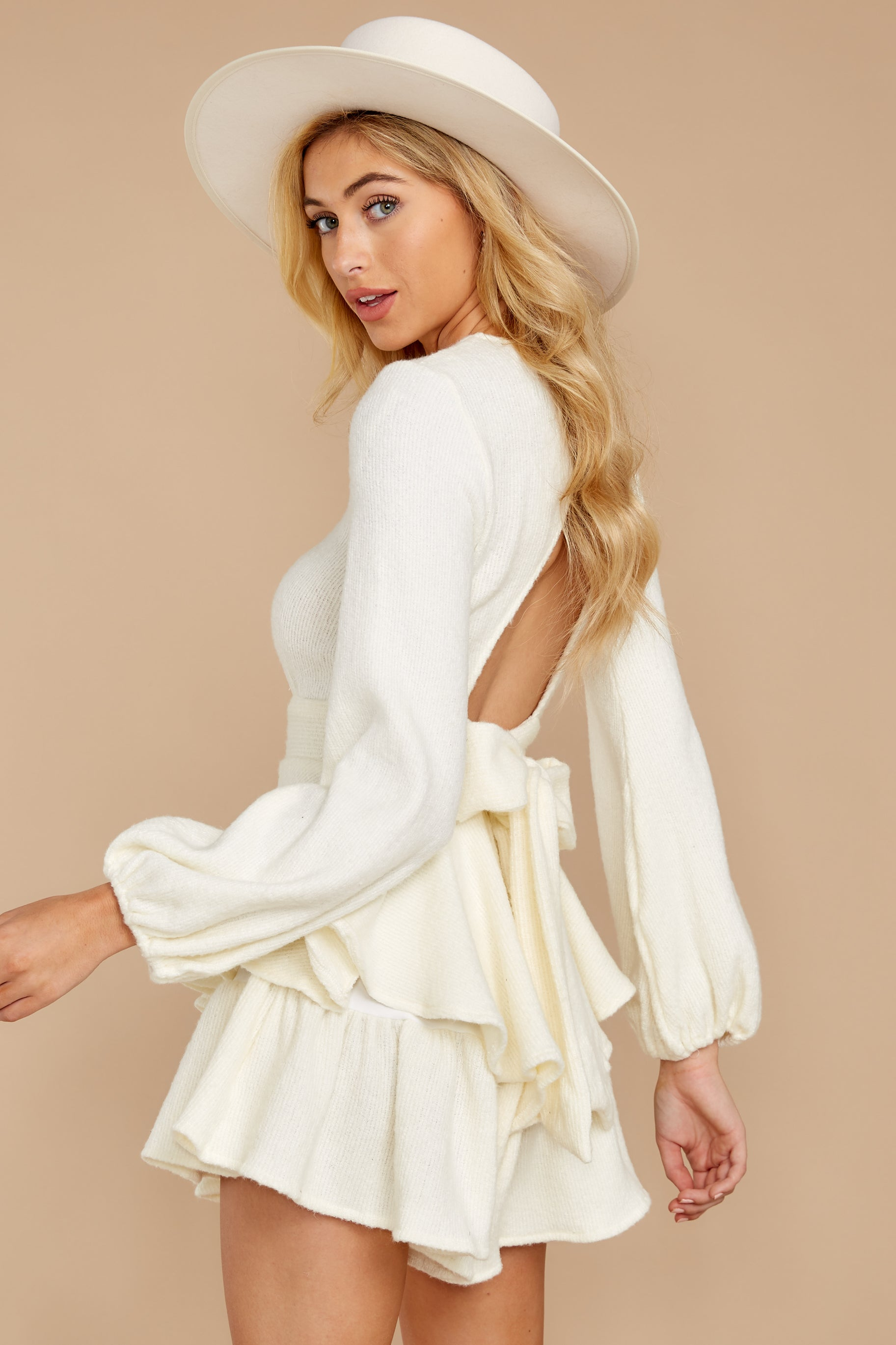 7 Right Impression White Sweater Romper at reddressboutique.com