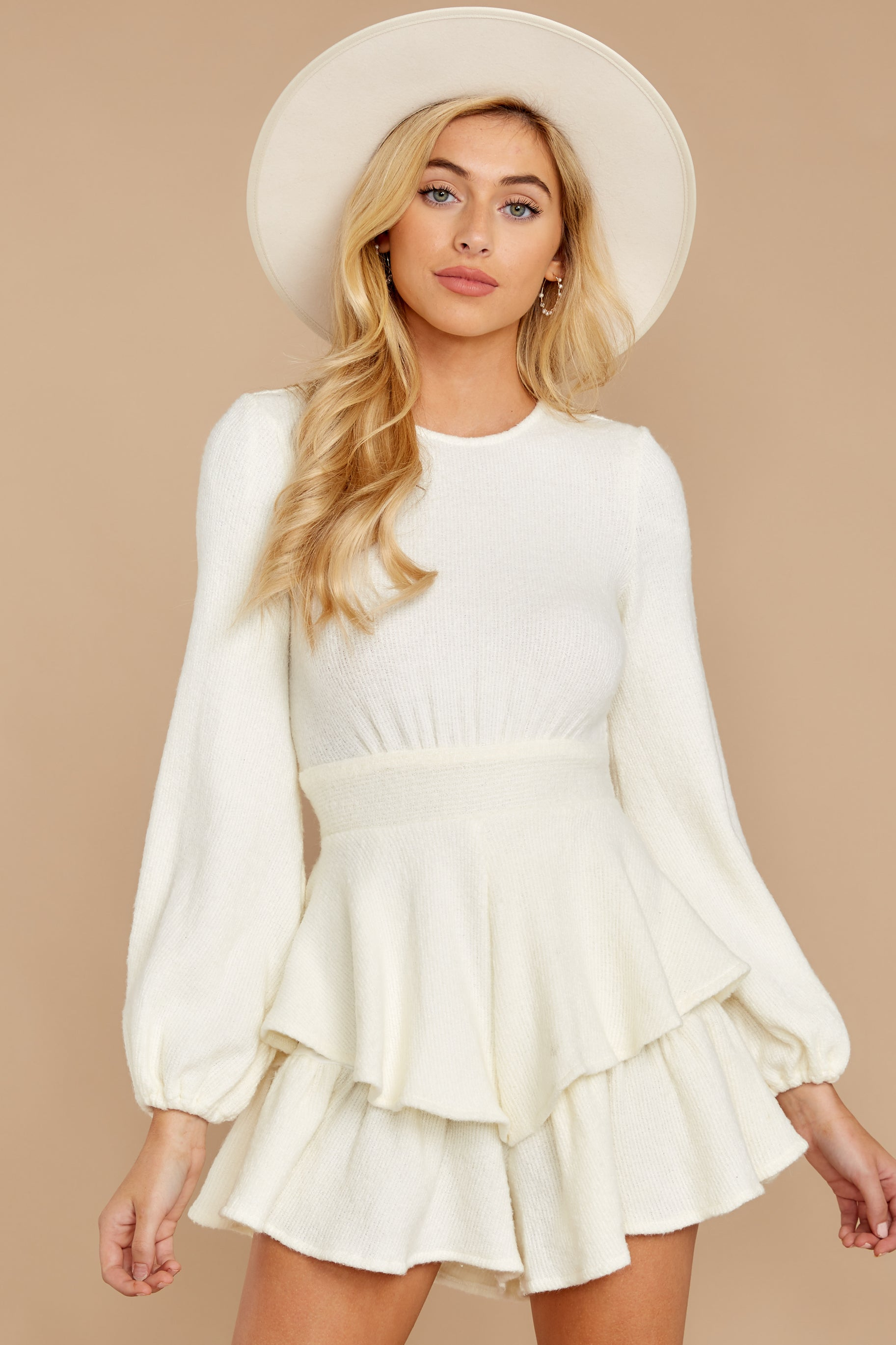 5 Right Impression White Sweater Romper at reddressboutique.com
