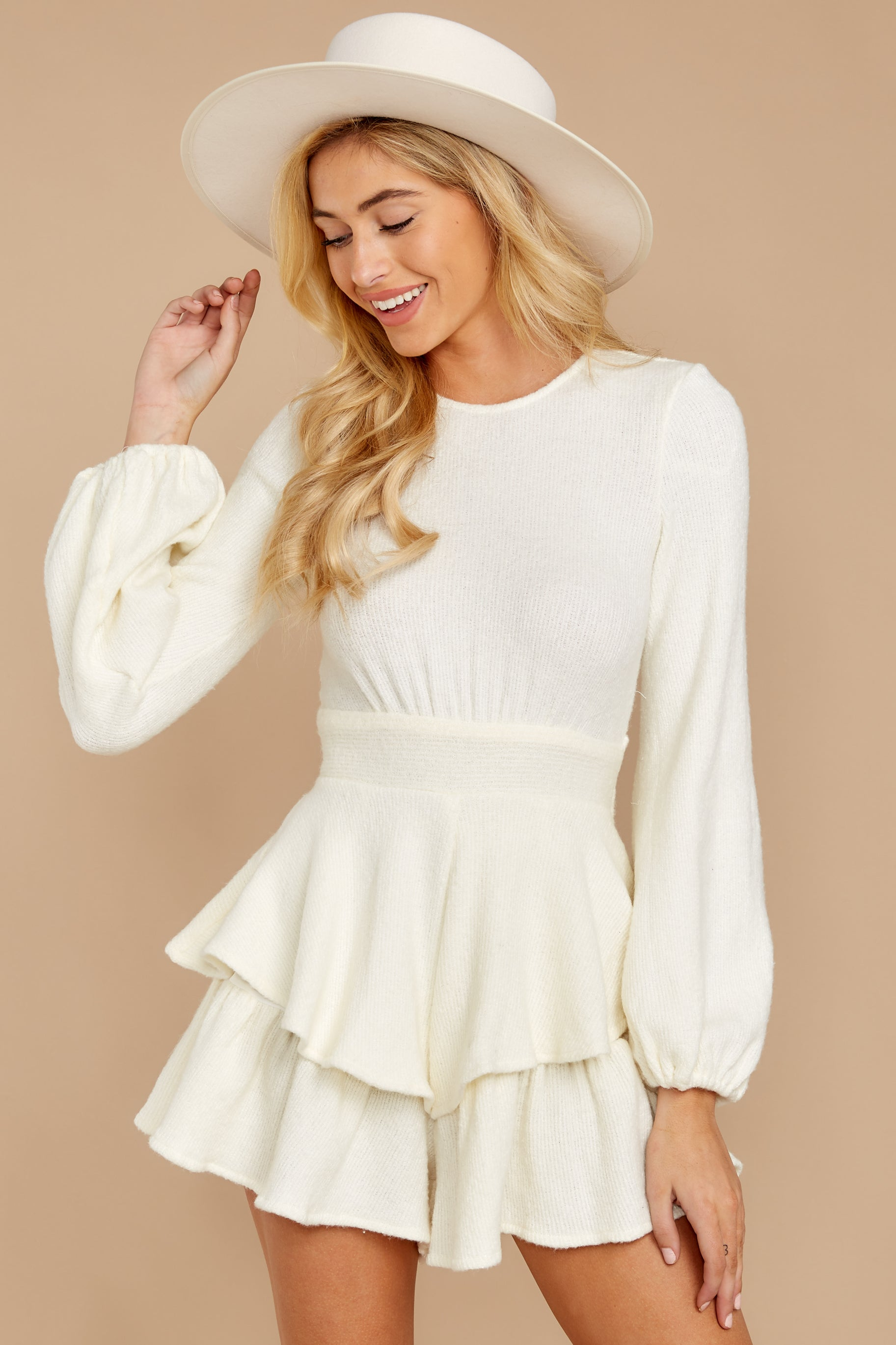 6 Right Impression White Sweater Romper at reddressboutique.com