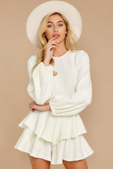 4 Right Impression White Sweater Romper at reddressboutique.com