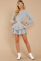 Hidden Back Zipper Belted Open-Back Round Neck Bishop Sleeves Sweater Romper