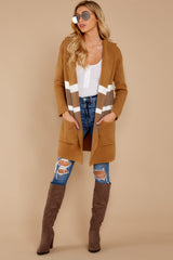 1 Falling For Adventure Tan Multi Stripe Coat at reddressboutique.com