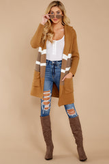2 Falling For Adventure Tan Multi Stripe Coat at reddressboutique.com