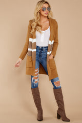 3 Falling For Adventure Tan Multi Stripe Coat at reddressboutique.com