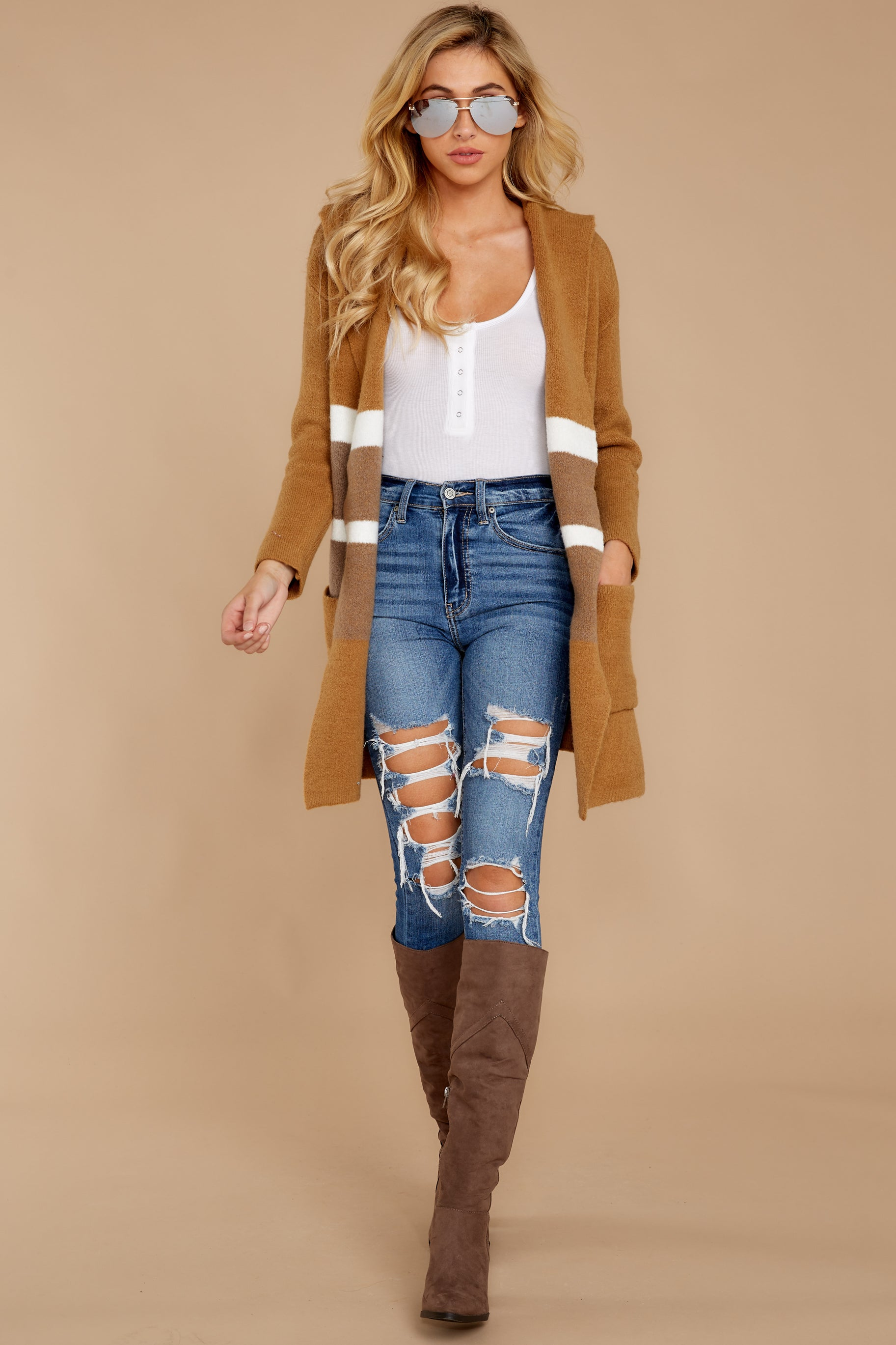 4 Falling For Adventure Tan Multi Stripe Coat at reddressboutique.com