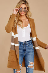 5 Falling For Adventure Tan Multi Stripe Coat at reddressboutique.com