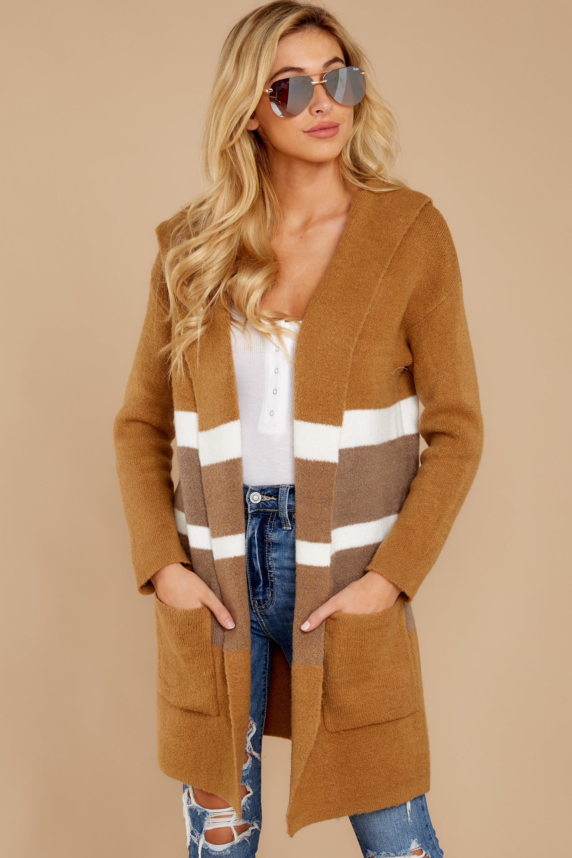 6 Falling For Adventure Tan Multi Stripe Coat at reddressboutique.com