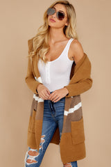 8 Falling For Adventure Tan Multi Stripe Coat at reddressboutique.com