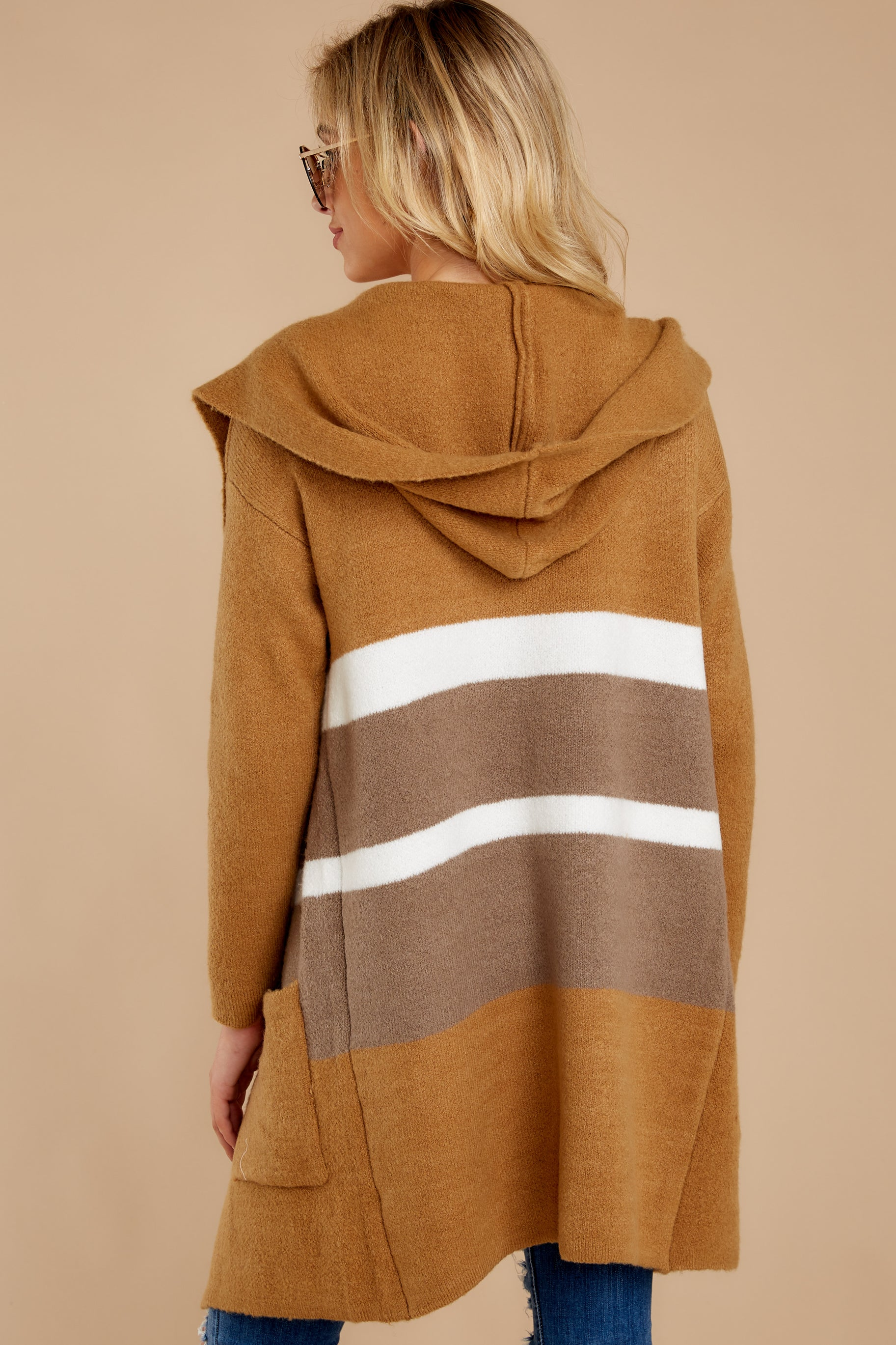9 Falling For Adventure Tan Multi Stripe Coat at reddressboutique.com