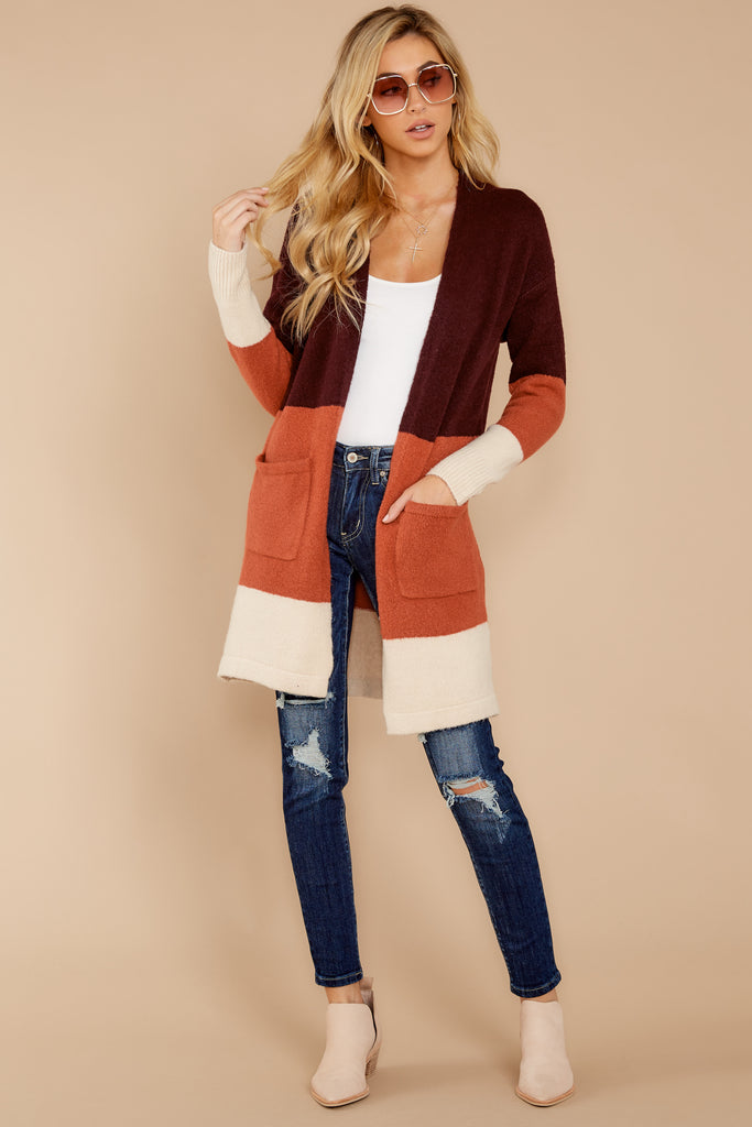 1 Early Morning Camel And Navy Striped Cardigan at reddress.com