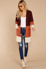 2 Lattes At The Lakehouse Deep Plum Multi Stripe Cardigan at reddressboutique.com