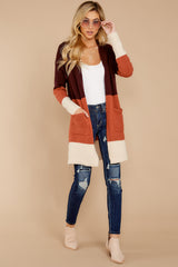 3 Lattes At The Lakehouse Deep Plum Multi Stripe Cardigan at reddressboutique.com
