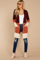 4 Lattes At The Lakehouse Deep Plum Multi Stripe Cardigan at reddressboutique.com