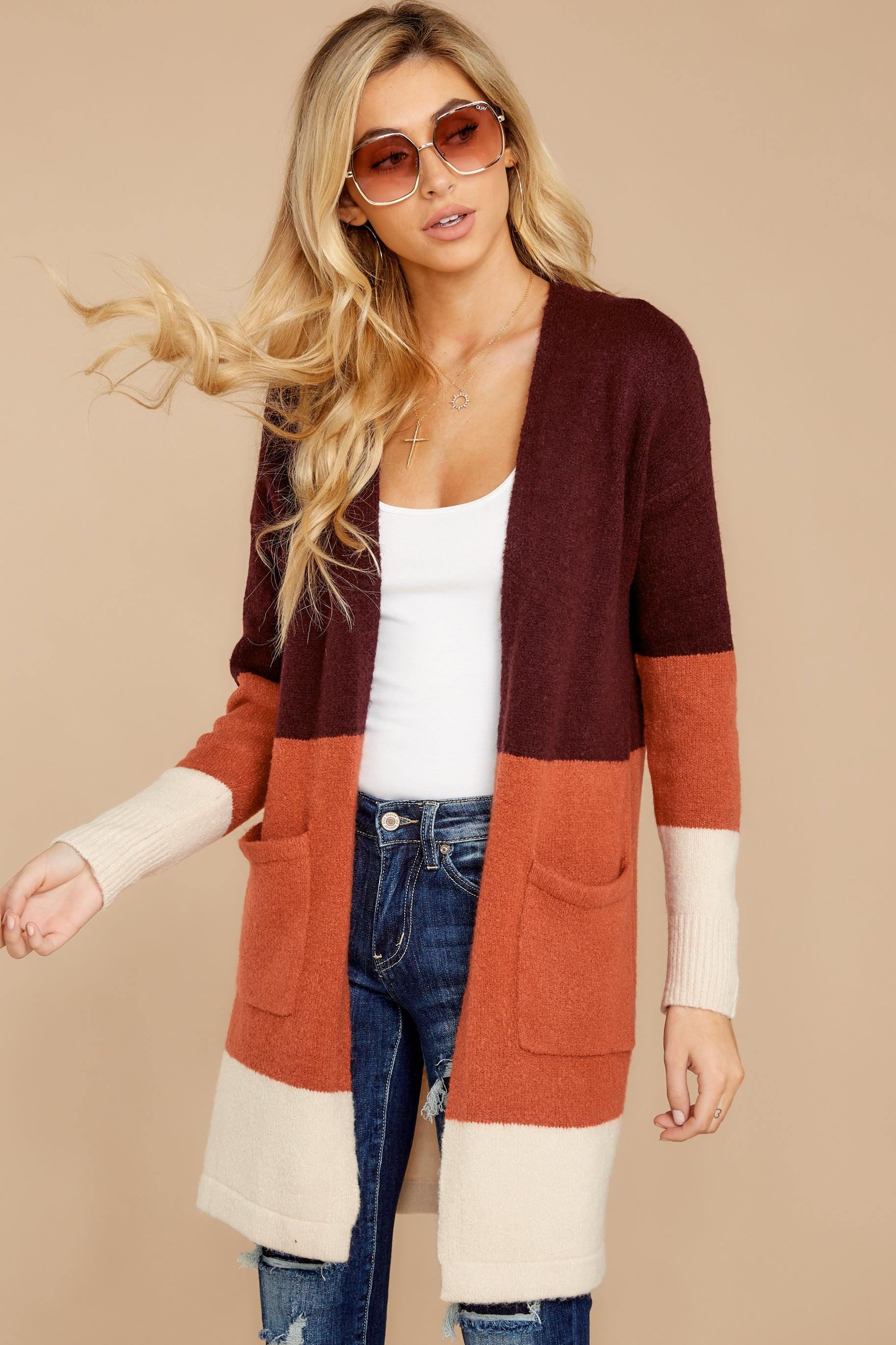 5 Lattes At The Lakehouse Deep Plum Multi Stripe Cardigan at reddress.com