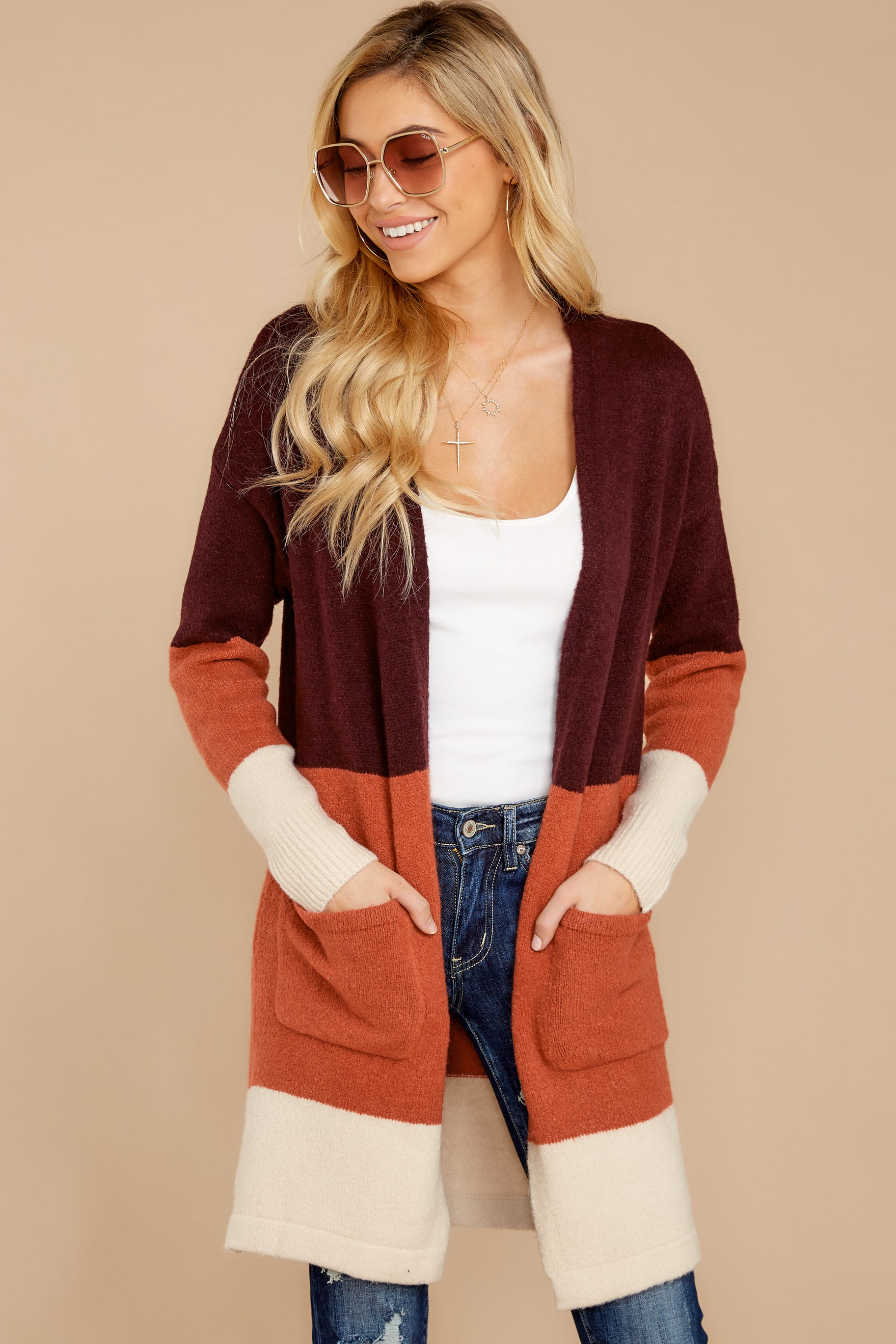 6 Lattes At The Lakehouse Deep Plum Multi Stripe Cardigan at reddressboutique.com