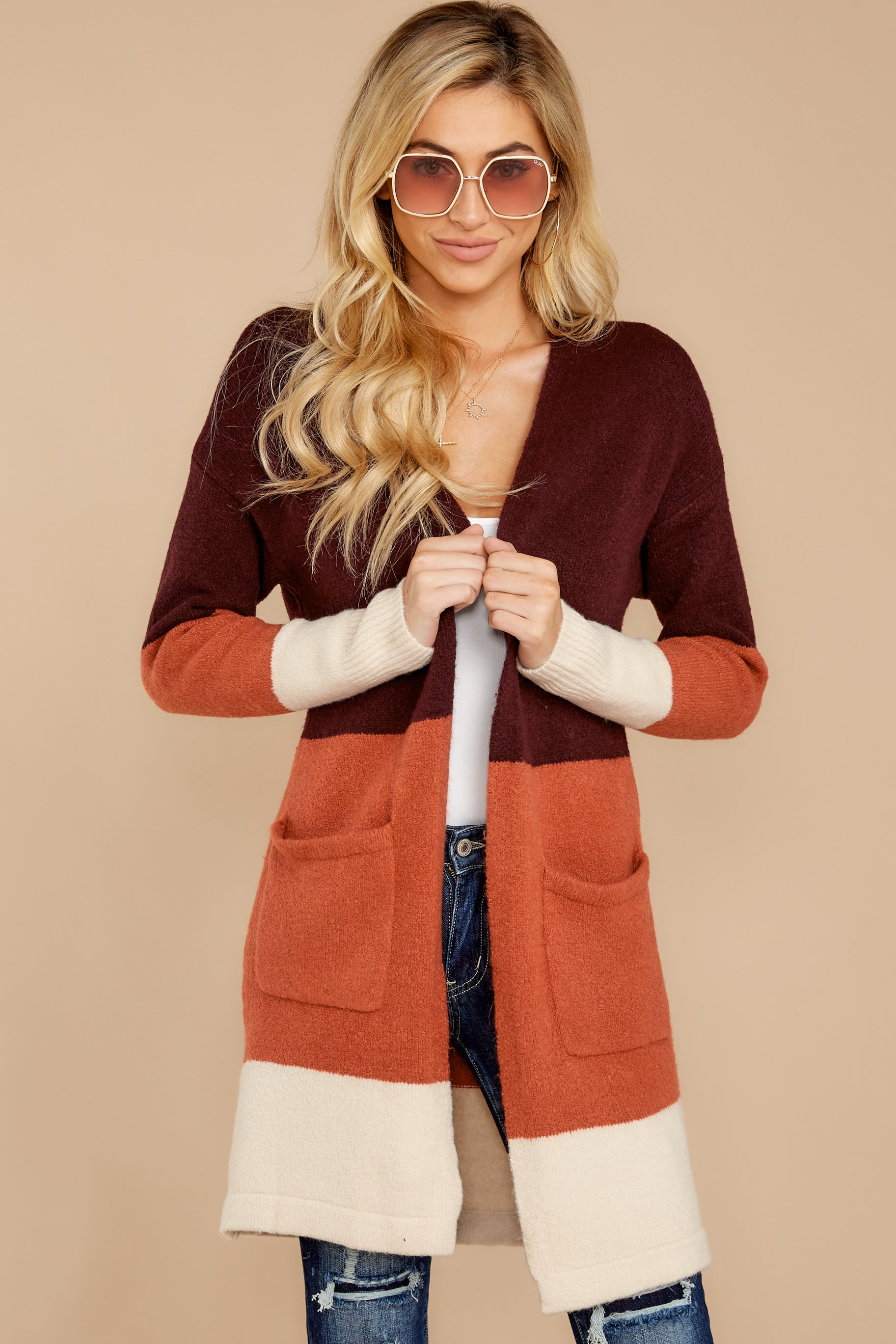 7 Lattes At The Lakehouse Deep Plum Multi Stripe Cardigan at reddressboutique.com