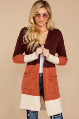 7 Lattes At The Lakehouse Deep Plum Multi Stripe Cardigan at reddress.com