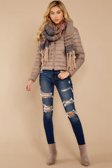 1 Cabin Cozy Taupe Padded Jacket at reddressboutique.com
