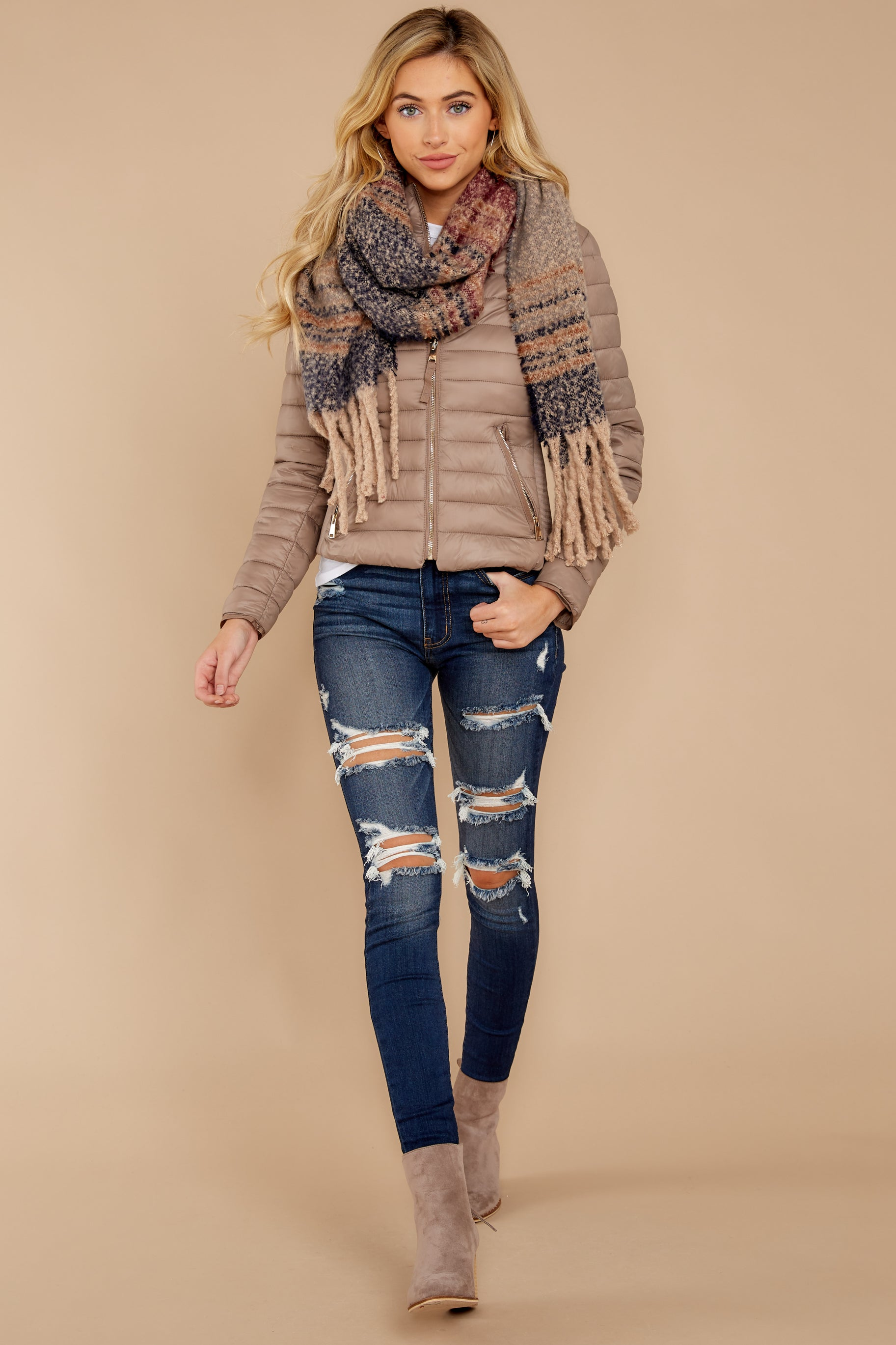 2 Cabin Cozy Taupe Padded Jacket at reddressboutique.com