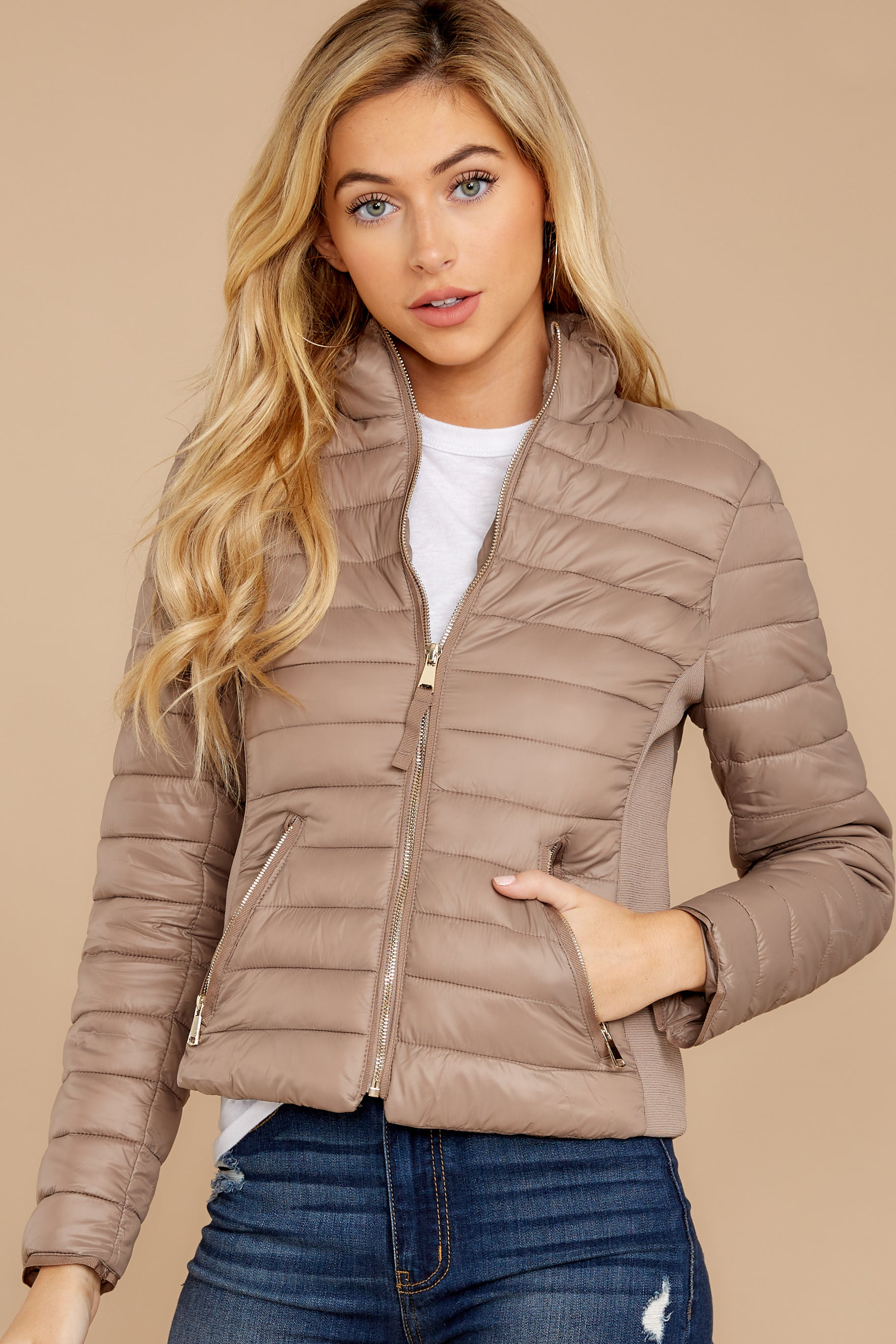 4 Cabin Cozy Taupe Padded Jacket at reddressboutique.com